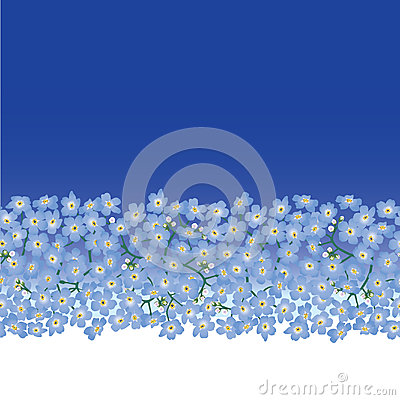 Seamless border with blue flower