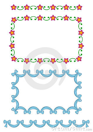Seamless border patterns-flowers, ribbon