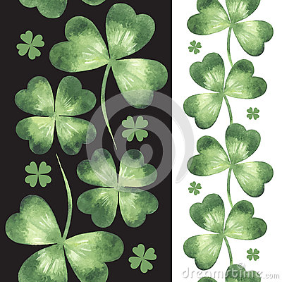 Free Seamless Borders Made Of Watercolor Vector Clover Leaves Royalty Free Stock Images - 50224829