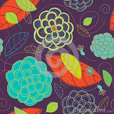 Seamless Bright Flowers and Swirls Pattern