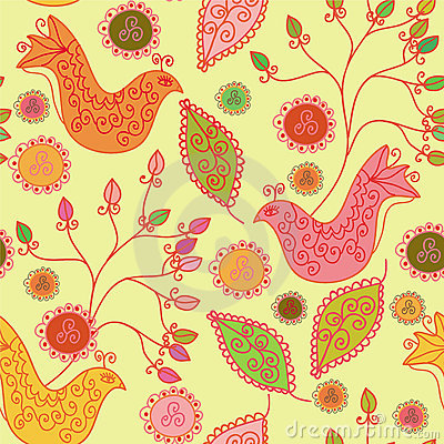 Seamless bright pattern with ethnic birds
