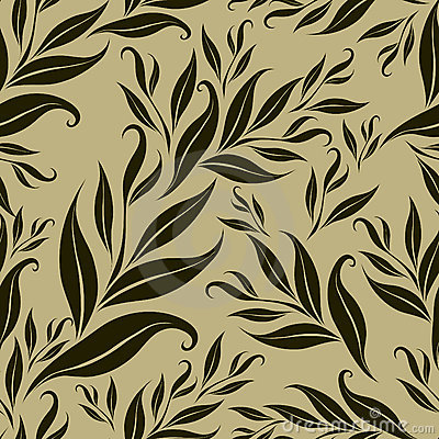Seamless brown floral pattern with leafs