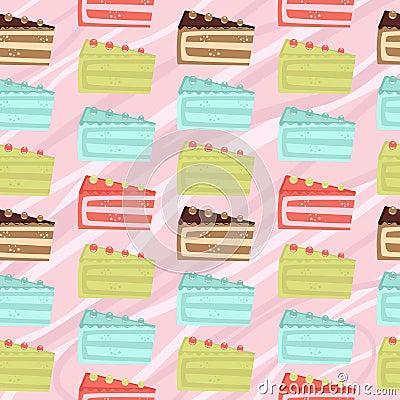 Seamless cake slices background