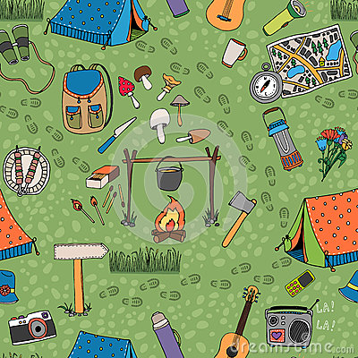 Free Seamless Camping Background Vector Pattern Stock Image - 39797081
