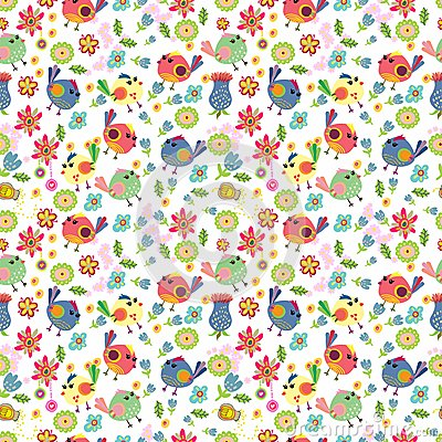 Seamless cartoon Background with color Birds