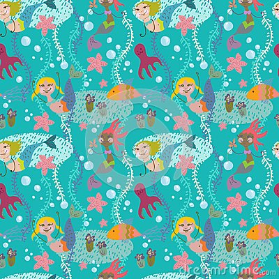 Seamless cartoon Background with color mermaid