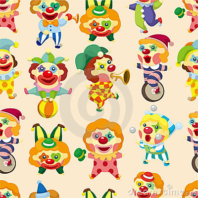 Seamless cartoon circus clown pattern