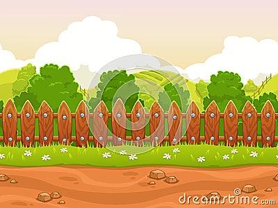 Seamless cartoon country landscape Stock Photo