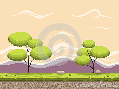 Seamless cartoon game background. Vector Illustration