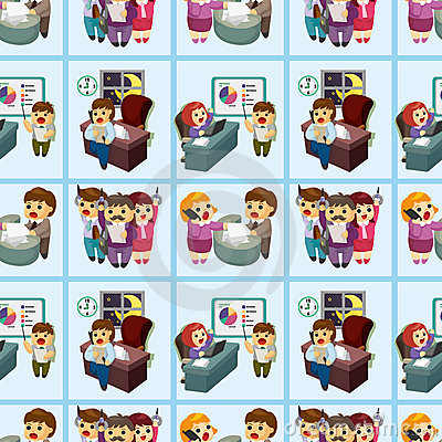 Free Seamless Cartoon Office Worker Pattern Stock Photography - 21309712