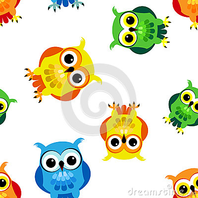 Seamless cartoon owls