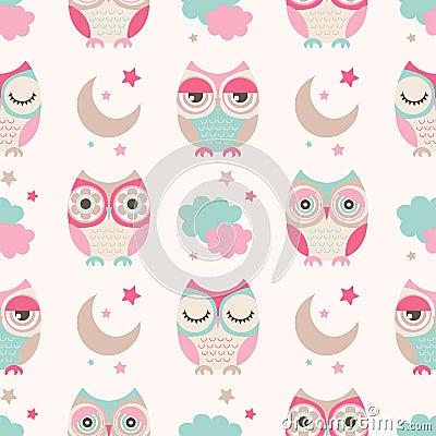 Free Seamless Cartoon Owls Birds Pattern Royalty Free Stock Image - 54500756