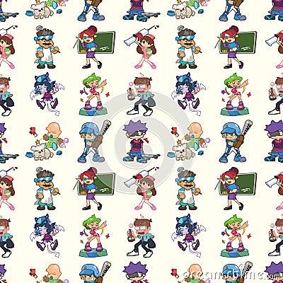 Seamless cartoon people pattern