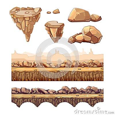 Free Seamless Cartoon Stones And Bridge For Game Design Royalty Free Stock Image - 61114856