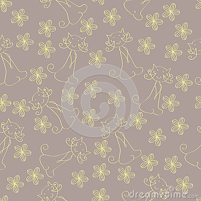 Seamless cat and flower pattern