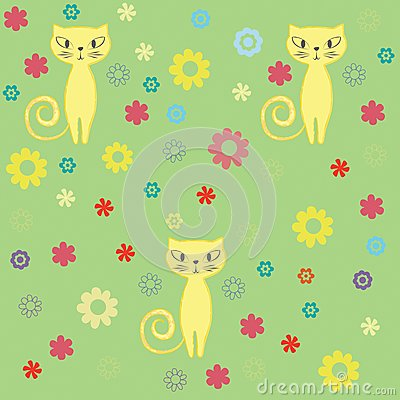 Seamless cat and flowers background.
