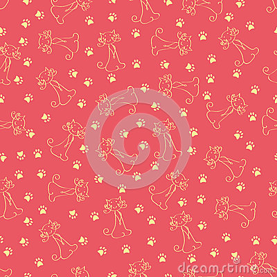 Seamless cat and footprints pattern