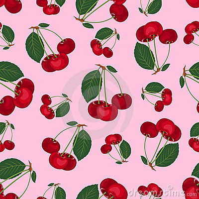 Seamless cherry pattern.
