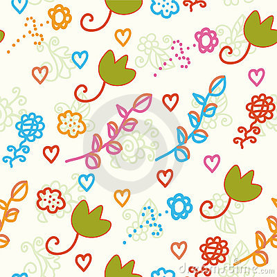 Seamless childish pattern with flowers
