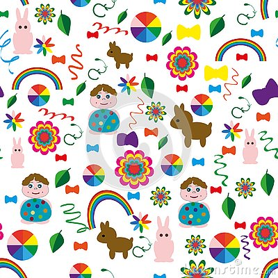 Seamless-children`s-background-with-a-rainbow-animal-balls Vector Illustration