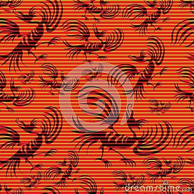 Seamless chinese dragon-bird pattern