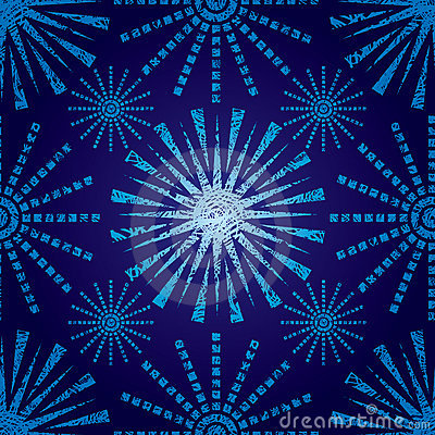 Seamless Christmas pattern with grunge snowflakes