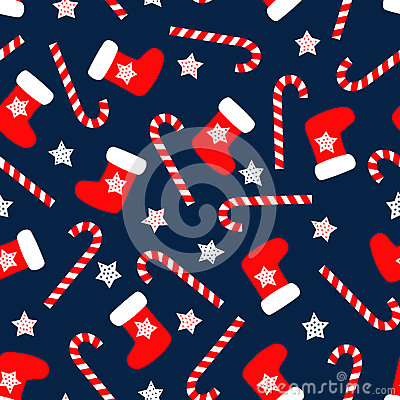 Free Seamless Christmas Pattern With Xmas Socks, Stars And Candy Canes. Royalty Free Stock Image - 58579716
