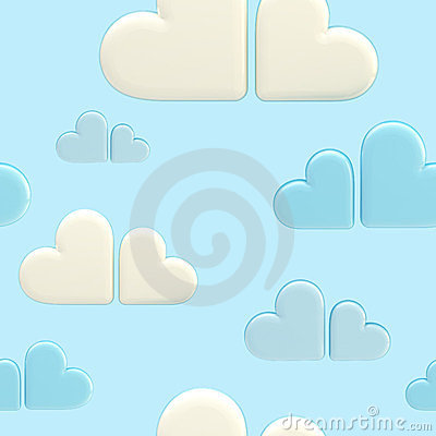 Seamless cloud background made of hearts