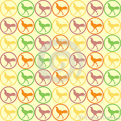 Seamless Cock Chicken pattern vector