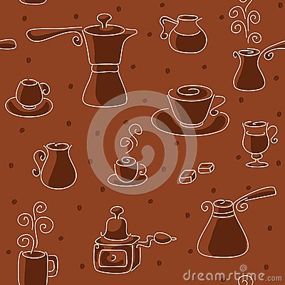 Seamless coffee pattern.