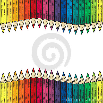 Seamless colored pencil vector border