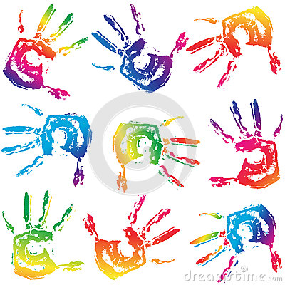 Seamless Colorful Hand Prints Background Stock Photos - Image: 25399533