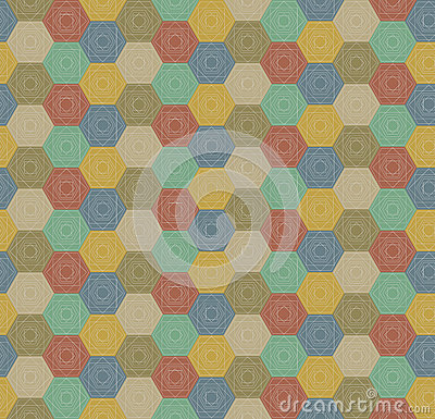 Seamless colorful hexagons pattern Vector Illustration