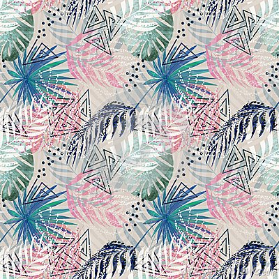 Free Seamless Colorful Tropical Pattern With Palm Leaves On Light Background. Stock Photography - 119063812