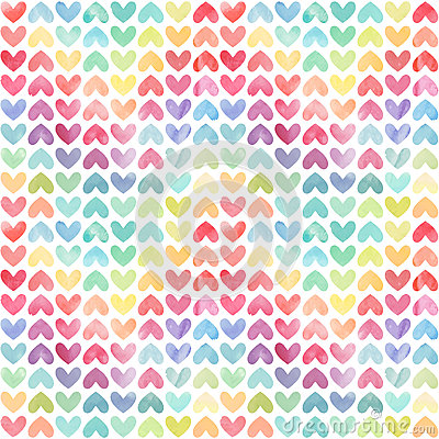 Free Seamless Colorful Watercolor Painted Hearts Pattern Stock Images - 60217234
