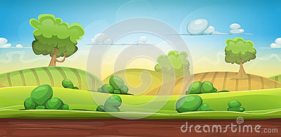 Seamless Country Landscape For Ui Game Vector Illustration