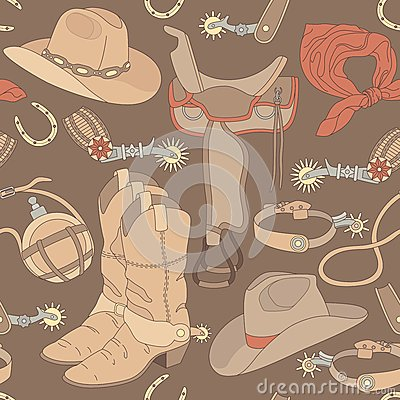 Free Seamless Cowboy Pattern Stock Photography - 31467982