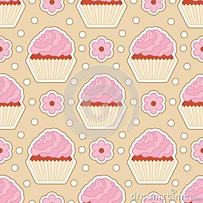 Seamless cupcake pattern. Vector Illustration
