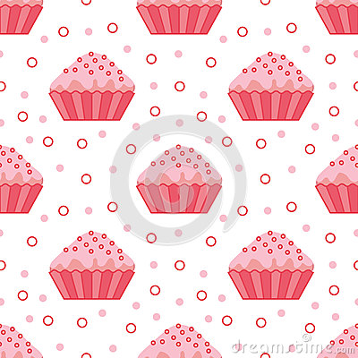 Seamless cupcake pattern. Vector Illustration