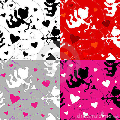 Free Seamless Cupid Pattern (4 Color Combinations) Royalty Free Stock Photo - 13035035