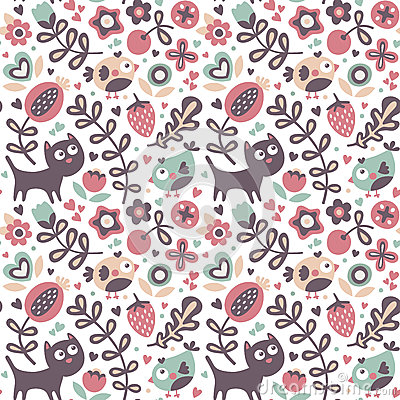Free Seamless Cute Animal Pattern Made With Cat, Bird, Flower, Plant, Leaf, Berry, Heart, Friend, Floral, Nature Royalty Free Stock Photos - 78608238