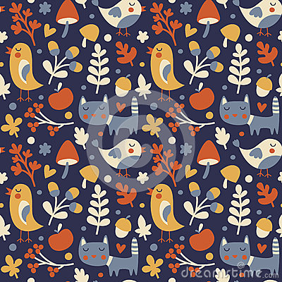 Free Seamless Cute Autumn Pattern Made With Cat, Bird, Flower, Plant, Leaf, Berry, Heart, Friend, Floral, Nature, Acorn Royalty Free Stock Images - 78071699