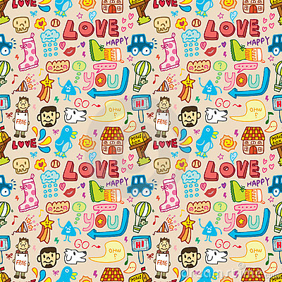Seamless cute cartoon pattern