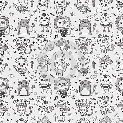 Seamless cute doodle monster pattern background