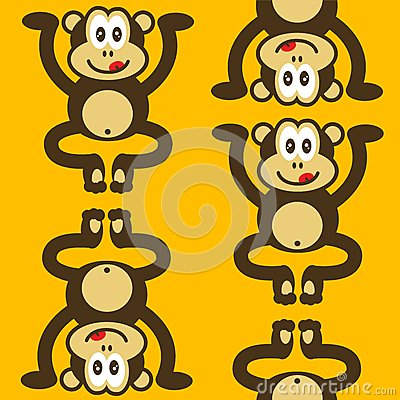 Seamless cute little monkey pattern
