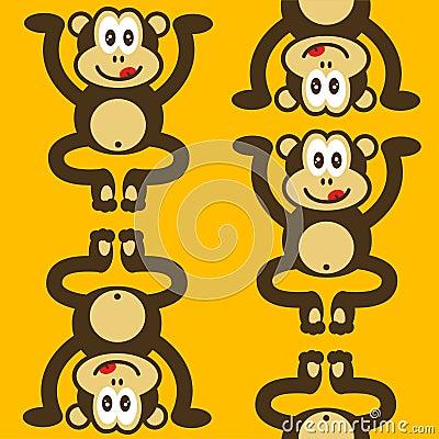 Seamless cute little monkey pattern
