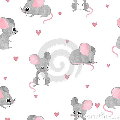 Free Seamless Cute Mice Pattern. Vector Watercolor Mouse Background Stock Photography - 123975242