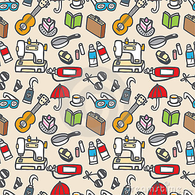 Free Seamless Cute Object Pattern Royalty Free Stock Photos - 16795438