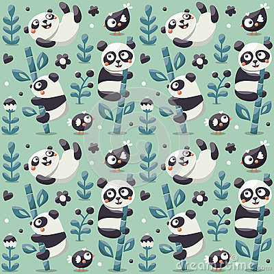 Free Seamless Cute Pattern With Panda And Bamboo, Plants, Jungle, Bird, Berry, Flowers Royalty Free Stock Images - 79157709