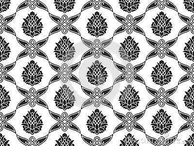 Seamless damask floral black-and-white texture